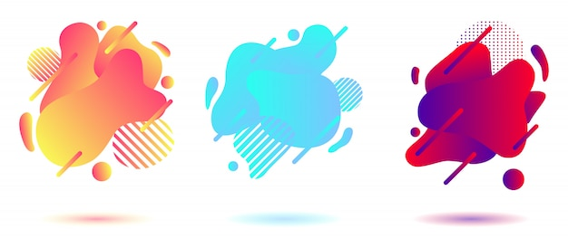 Abstract liquid background set Premium Vector