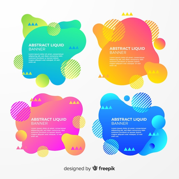 Abstract liquid banner collection Free Vector