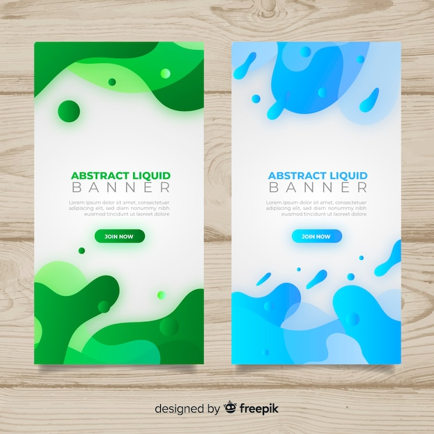 Abstract liquid banners Free Vector