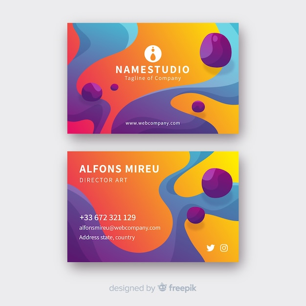 Abstract liquid business card template Free Vector