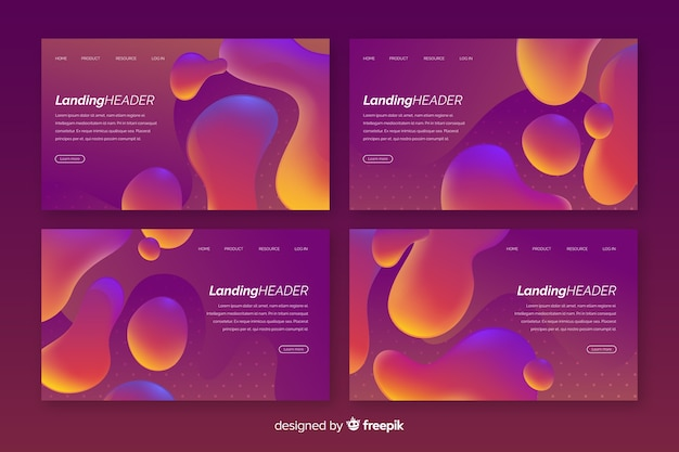 Abstract liquid effect landing page template collection Free Vector