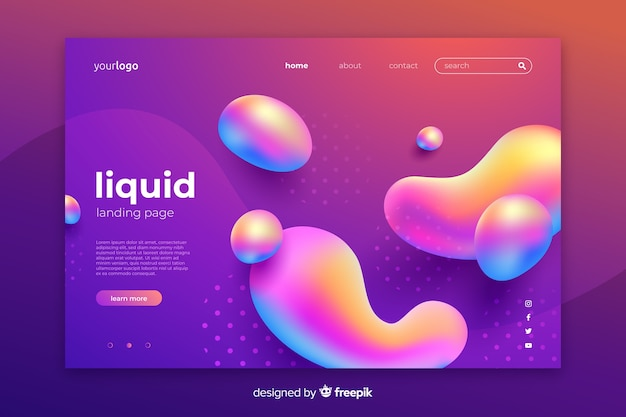 Abstract liquid effect landing page template Free Vector