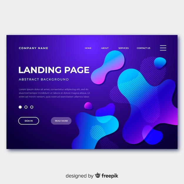 Abstract liquid effect landing page Free Vector