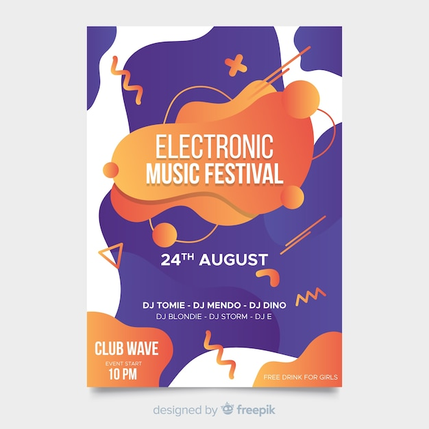 Abstract liquid effect music festival poster template Free Vector