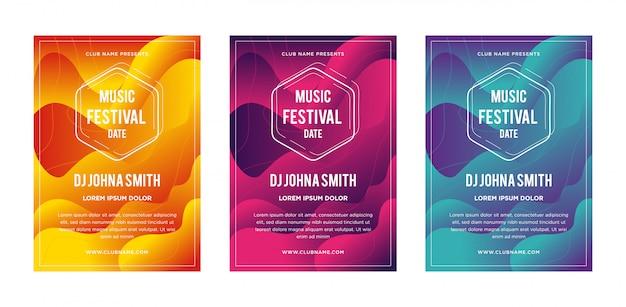 Abstract liquid fluid music festival poster Premium Vector