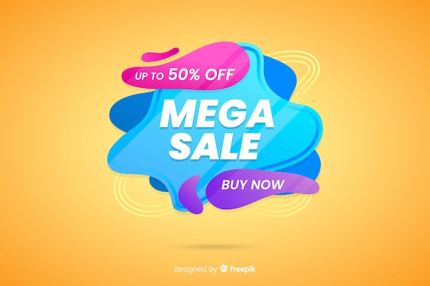 Abstract liquid mega sales background Free Vector