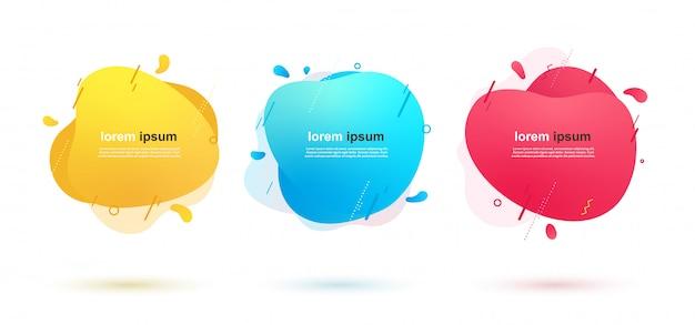 Абстрактные жидкие формы баннеры с геометрическими линиями и точками. динамические цветовые элементы для дизайна. Premium векторы