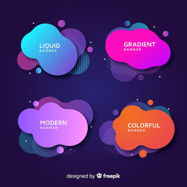 Abstract liquid shapes banners Free Vector