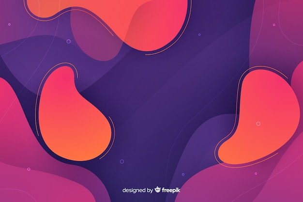 Abstract liquid shapes gradient background Free Vector