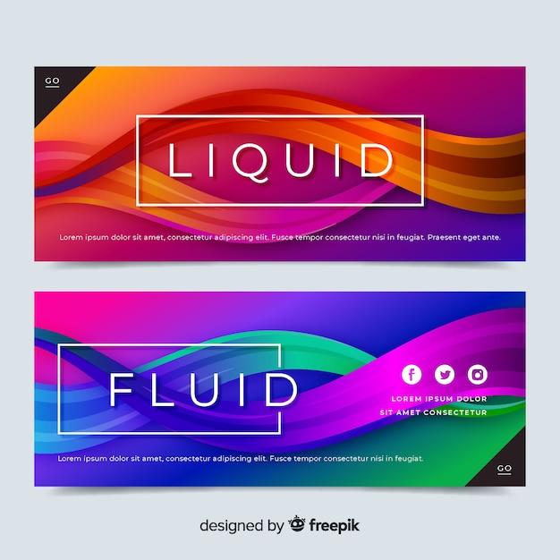 Abstract liquid waves banner set Free Vector