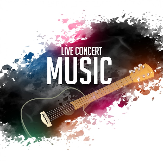 Abstract live concert music background with guitar Free Vector