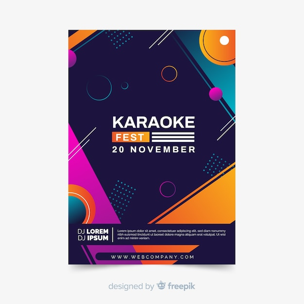 Abstract live music poster template Free Vector
