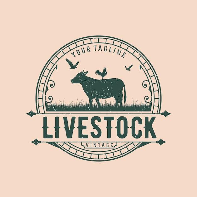 抽象的な家畜ヴィンテージロゴデザインテンプレート Premiumベクター