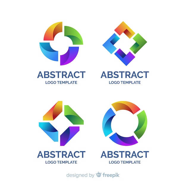 Abstract logo flat collection Free Vector