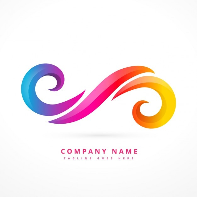 Abstract logo made with colorful swirls Free Vector