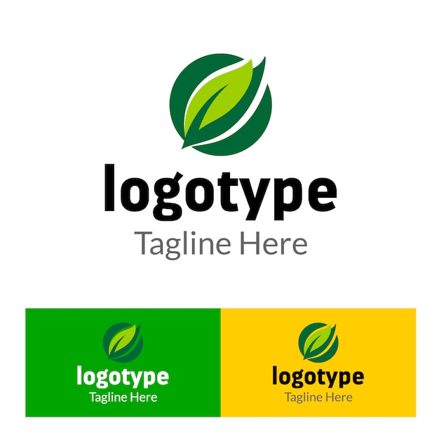 Abstract logo organic farm with green leaf element for food market Premium Vector