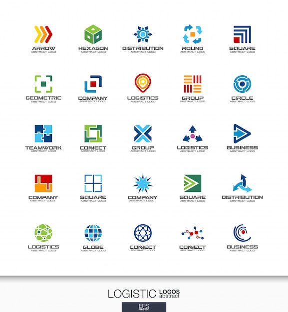 Abstract logo set for business company. corporate identity  elements. export, transport, delivery and distribution concepts. logistic, shipping logotype collection. colorful  icons Premium Vector