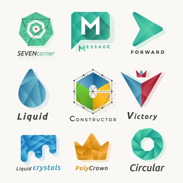 Abstract Logos Made Of Polygons Vector Free Download