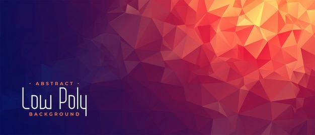 Abstract low poly banner with orange light shade Free Vector