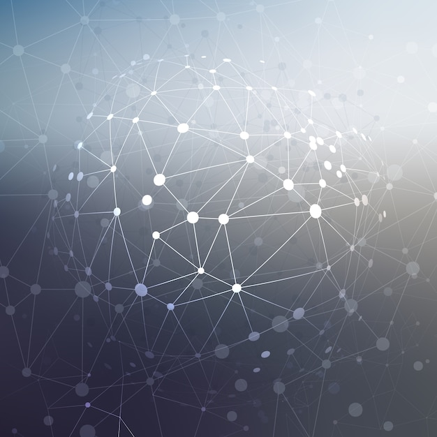 Abstract low poly design with connecting dots Free Vector