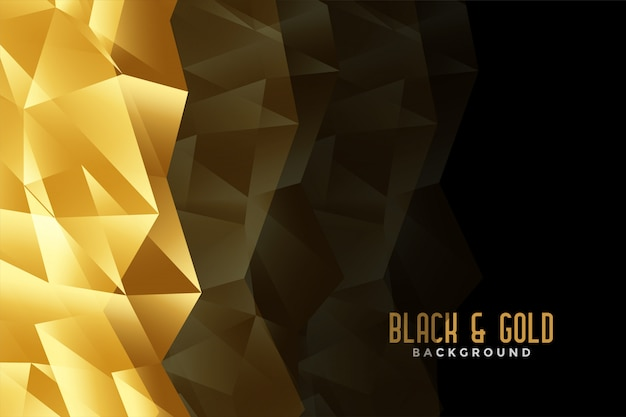 Abstract low poly golden and black background Free Vector