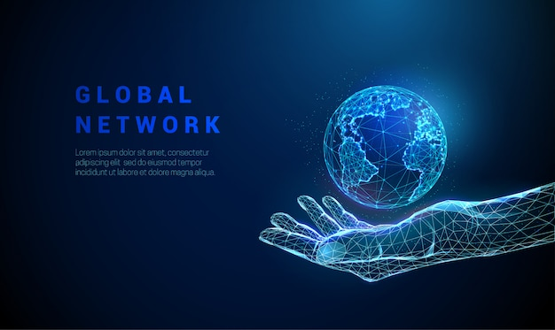 Abstract low poly hand holding planet earth. Premium Vector