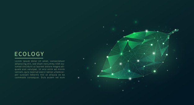 Abstract low poly leaf. ecology concept. Premium Vector