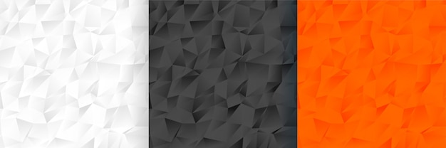Abstract low poly three color background pattern set Free Vector