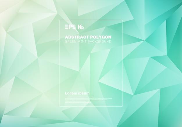 ブルーグリーンミントの背景とテクスチャの抽象的な低多角形または三角形のパターン。 Premiumベクター