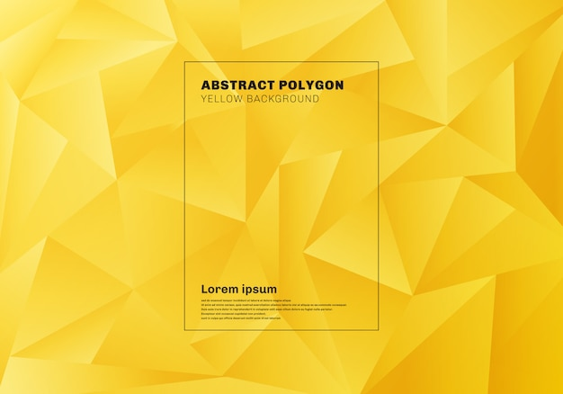 Abstract low polygon yellow background Premium Vector