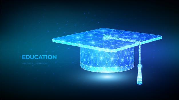 Abstract low polygonal graduation cap. student hat. e-learning concept. distance graduate certificate program. Premium Vector