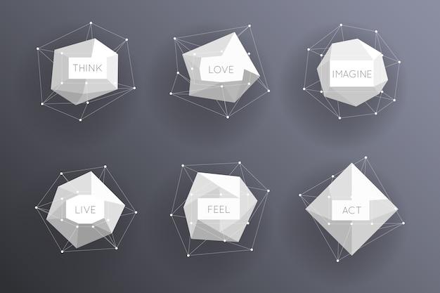 Абстрактные низкие полигональные современные этикетки. творческий элемент шаблона. Бесплатные векторы