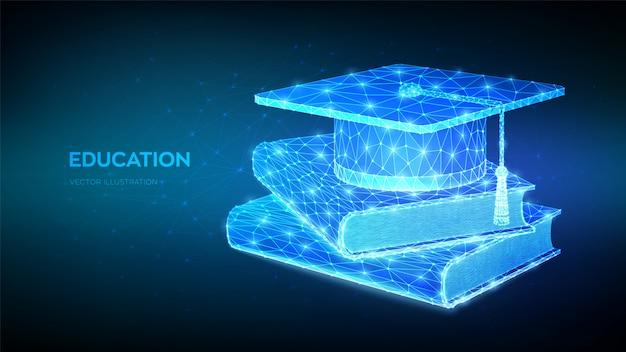 Абстрактный низкий полигональные студенческая выпускной колпачок и книги. концепция электронного обучения. инновационное онлайн-образование. сертификат программы дистанционного обучения. Premium векторы