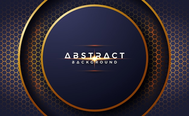 Abstract, luxurious, 3d circle background with hexagon shape. Premium Vector