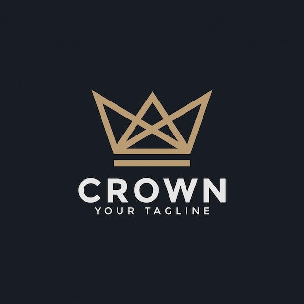 Abstract luxury crown royal king queen line logo design template Premium Vector