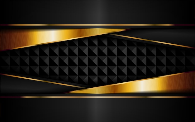 Abstract luxury dark background with golden lines combinations. Premium Vector