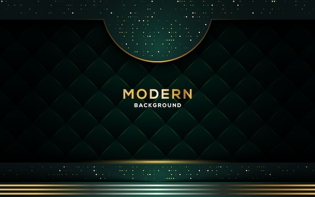 Abstract luxury dark background with golden lines and glitters. Premium Vector