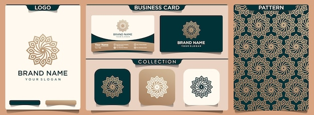 パターンと名刺のセットで抽象的な豪華な花のロゴ Premiumベクター