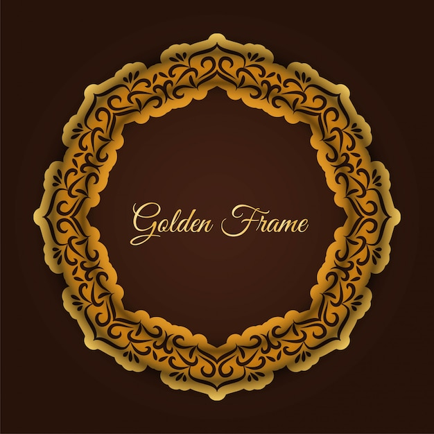 Abstract luxury golden frame Free Vector