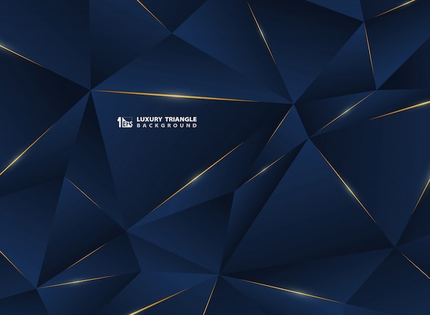Abstract luxury golden line with classic blue template premium background. Premium Vector