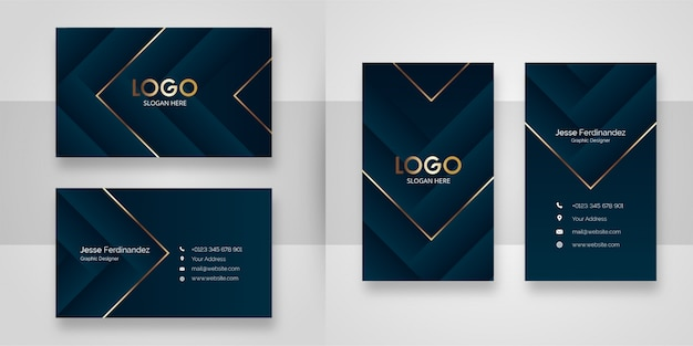 Abstract luxury shape business card template Premium Vector
