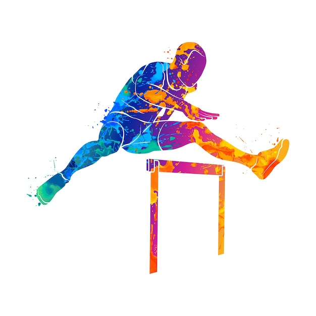 Abstract man jumping over hurdles from splash of watercolors.  illustration of paints. Premium Vector