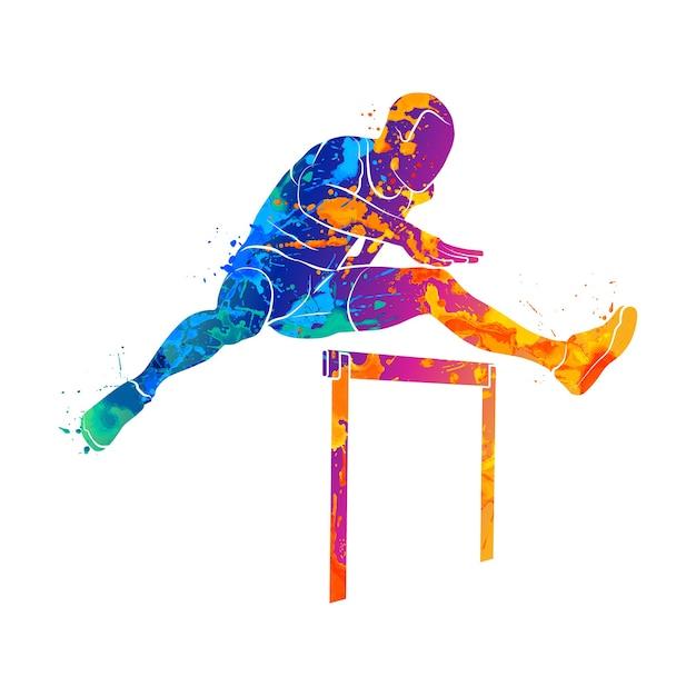 Абстрактный человек прыгает через препятствия из всплеска акварелей. иллюстрация красок. Premium векторы