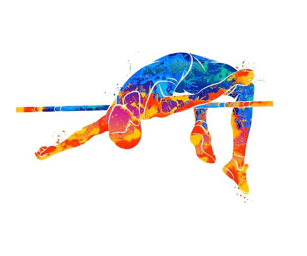 Абстрактный человек прыгает в высоту от всплесков акварелей Premium векторы