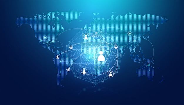 Abstract map dot and digital link people internet connection Premium Vector