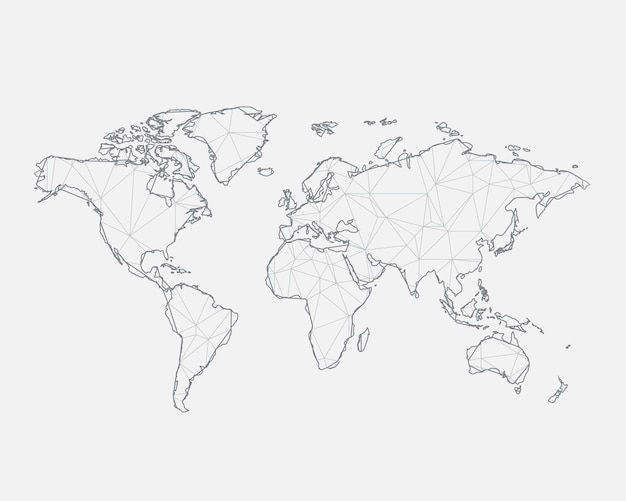 Abstract Map Of The World.Abstract Map Of The World With Connected Triangular Shapes Vector