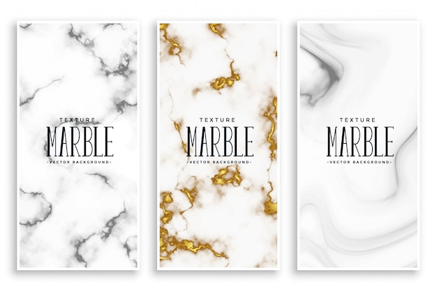 Abstract marble texture banners set Free Vector