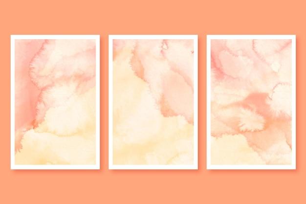 Set di carte acquerello astratto in marmo Vettore gratuito