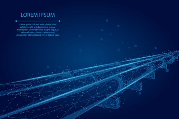 Абстрактная линия затора и точка нефтепровод. связь с транспортной линией нефтяной промышленности Premium векторы