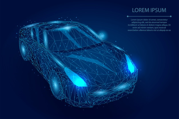 Abstract mash line and point car. polygonal low poly automobile Premium Vector